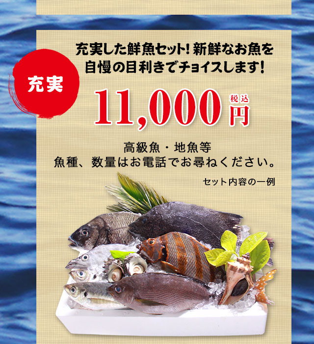 充実11000円セットのお取り寄せ。充実した鮮魚セット!新鮮なお魚を自慢の目利きでチョイスします!高級魚・地魚等魚種、数量はお電話でお尋ねください。