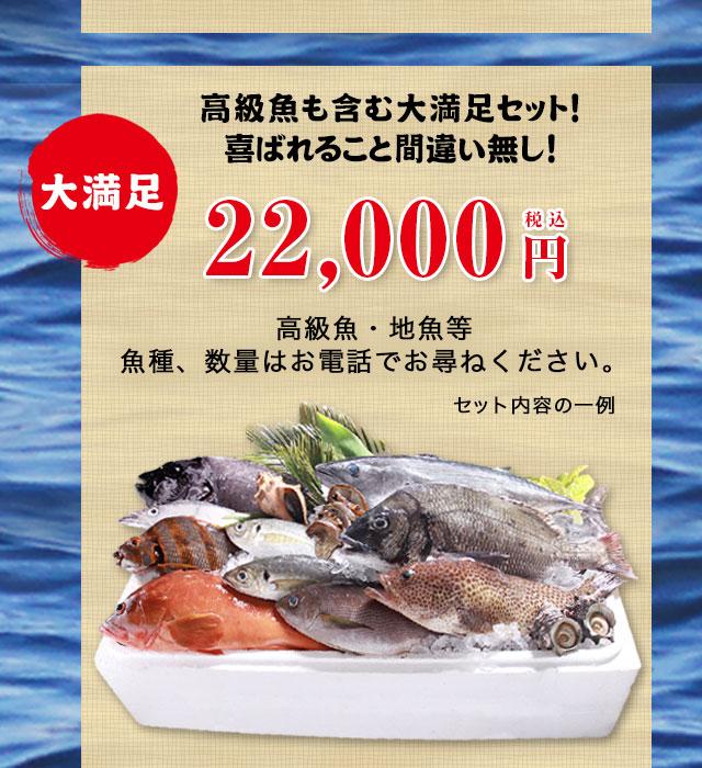 大満足22000円セットのお取り寄せ。高級魚も含む大満足セット!喜ばれること間違い無し!高級魚・地魚等魚種、数量はお電話でお尋ねください。