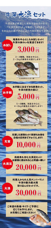 牛深大漁セット牛深水産が厳選した鮮魚を詰め合わせた『牛深大漁セット』を販売しております。その日の水揚げ状況により内容が異なります。地魚を中心としたお試しセット!牛深の味わいを実感できます!お試し3000円セット。お手軽に注文できる鮮魚セット。牛深の鮮魚の虜に!お手軽5000円。充実した鮮魚セット!新鮮なお魚を自慢の目利きでチョイスします!充実10000円セット。高級魚も含む大満足セット!お客様に喜ばれること間違い無し!大満足20000円セット。料理人からの人気ナンバーワン!牛深の魅力最大限取り込んだセットです大漁30000円ご希望の魚種・サイズ・ご予算に応じてお作りします。お気軽にご相談ください。